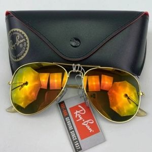 AUTH RAY-BAN GOLD ORANGE MIRROR AVIATOR SUNGLASSES
